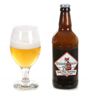 Shows a glass of Red Fox Coggeshall Gold beer along with its bottle
