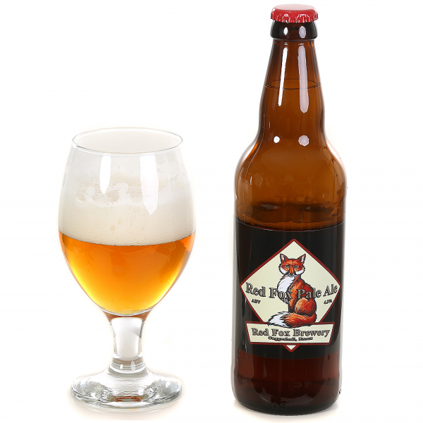Photo of Red Fox Pale Ale in a bottle and glass