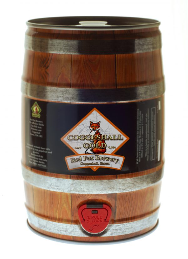 Shows a mini-keg of Red Fox Coggeshall Gold beer