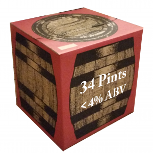 Shows a boxed polypin of Red Fox beer