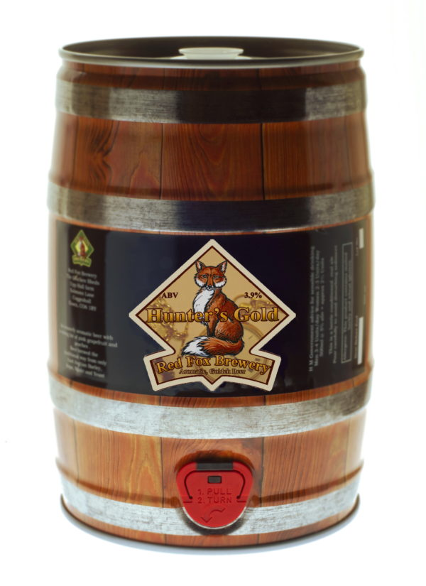 Photo of a mini-keg of Red Fox Hunter's Gold beer