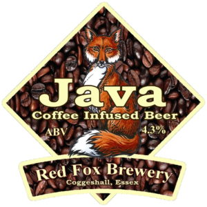 Picture of the label from a bottle of Red Fox Java