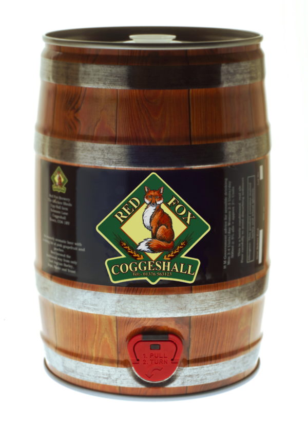 Photo of a mini-keg of Red Fox beer