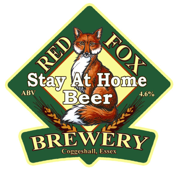 """Label for Red Fox """"Stay At Home Beer"""""""